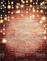 Rustic Old Fashioned Brick Wall With Elegant String Lights Background Royalty Free