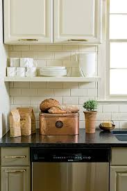 Image Of Incomparable French Country Cottage Kitchen Decor Using Single Wooden Wall Shelves On White Ceramic