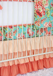 Aqua And Coral Crib Bedding by Coral Camila Crib Bedding Set By Caden Lane Rosenberryrooms Com