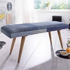 finebuy sitzbank silam denim massivholz bank 117 x 51 x 38 cm retro stil 2er polsterbank flur gepolsterte bank esszimmer blau kleine