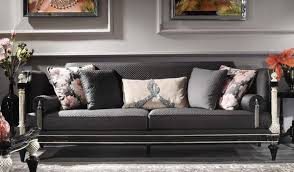 casa padrino luxus barock sofa schwarz grau silber antik gold 250 x 95 x h 80 cm prunkvolles wohnzimmer sofa im barockstil