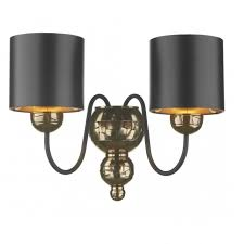 traditional bronze wall light black fabric shades
