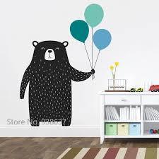 netter bär mit luftballons wandaufkleber woodland tier vinyl wandtattoo für kinderzimmer schlafzimmer kindergarten wandtattoo decor jw336