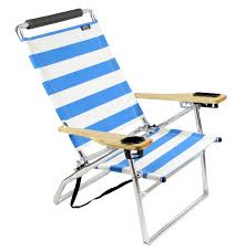Big Kahuna Beach Chair With Footrest by Deluxe 4 Position High Seat Aluminum Beach Chair Blue Stripe