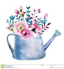Watercolor Bouquets Of Flowers In Pot Rustic Growth Growing Royalty Free Illustration