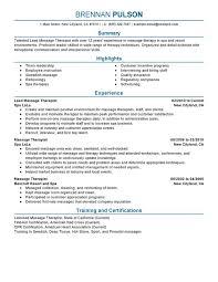 Lead Massage Therapist Resume Sample