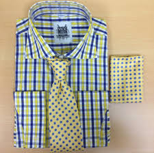 men u0027s fashion royal blue yellow checked dress shirt and custom tie