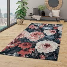 wohnzimmer teppich kurzflor modernes blumen design boho optik in grau rosa rot größe 160x230 cm