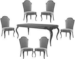 casa padrino luxus barock esszimmer set grau schwarz silber 1 esszimmertisch 6 esszimmerstühle barock esszimmermöbel luxus qualität edel
