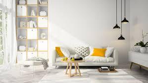 wohnzimmer moderne skandinavische einrichtung einbaubüch