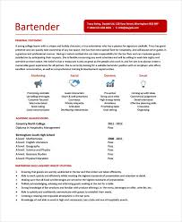Examples And Bartending Resume Samples