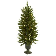 Spiral Pre Lit Christmas Trees by 4 Ft Pre Lit Christmas Tree With Urn Clear Lights Hayneedle