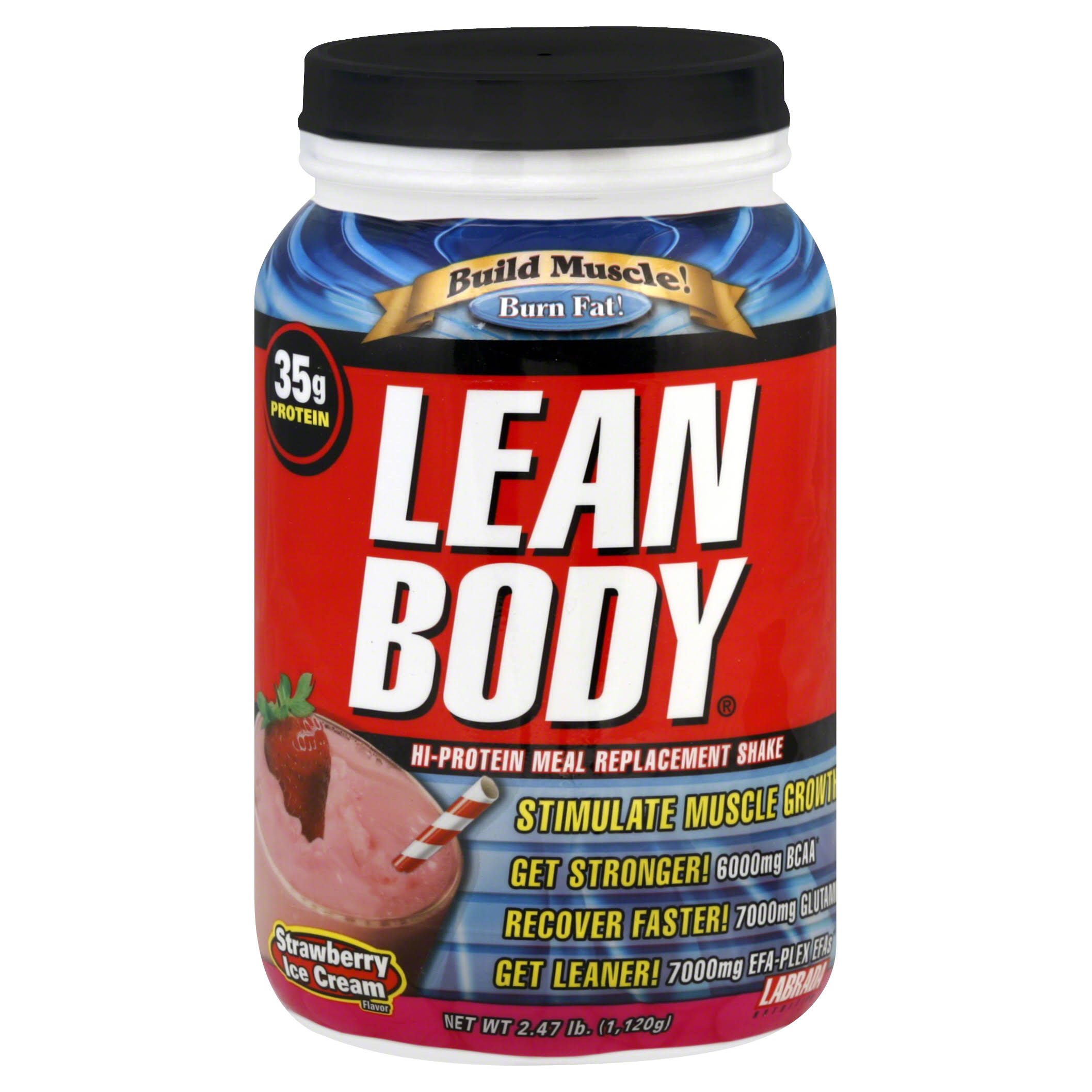 Labrada Nutrition Lean Body Hi-Protein Meal Replacement Shake - Strawberry Ice Cream, 2.47lbs