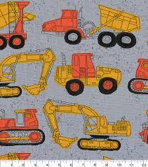 100 Construction Trucks Novelty Cotton Fabric 43 On Gray