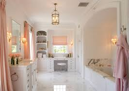 Chandelier Over Bathroom Vanity by Interior White Glossy Floor Tile Connected By Large Glass Shower