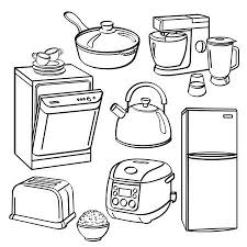 Hand Drawn Sketch Of Kitchen Stove With Kettle And Pan Royalty Free