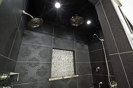 textured tile in black and white bathroom traditional bathroom
