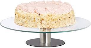 relaxdays tortenplatte drehbar standfuß kuchenplatte zum dekorieren torten drehteller für kuchen ø 30cm transparent