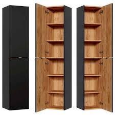 lomadox hochschrank toskana black 56 badezimmer in seidenmatt anthrazit b h t ca 35 170 33cm