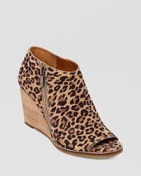 lucky brand peep toe wedge booties jaspah in brown lyst