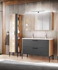 badmöbel set 3 tlg badezimmerset pantin grau inkl waschtisch 120cm