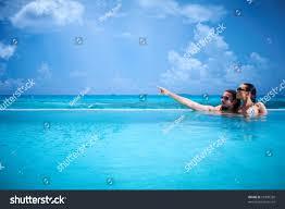 100 Infinity Swimming Romantic Couple Alone Pool Stock Photo Edit Now