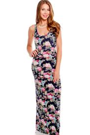 navy multi floral scoop neckline sleeveless racer back casual maxi