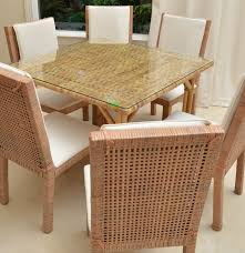 Glass Top Wicker Dining Table With Six Chairs EBTH White ...