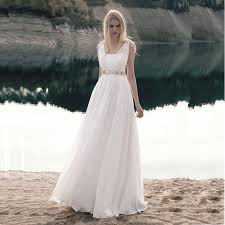 Flowing Country Wedding Dress With Beading Sleeveless A Line Long
