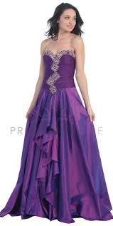 purple fancy embroidered decoration strapless sweetheart ruched