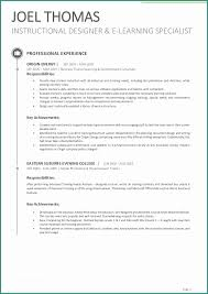 Gallery Of Instructional Designer Resume And Sample Best Collection