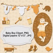 Baby Boy Clipart Baby Shower Scrapbooking Digital Labels PNG Cute Baby Clip Art Digi Papers 12x12 Inch Crafts Images Printables Image
