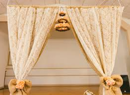 Plum And Bow Lace Curtains by Diy Wedding Arch Lace Curtains From Thrift Store And Long Layers