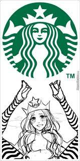 Drawn Starbucks Girl Holding