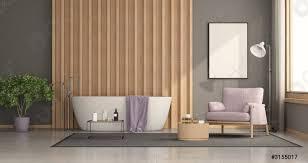 foto auf lager modernes badezimmer mit badewanne mit holzpaneel auf dem hintergrund und sessel 3d rendering