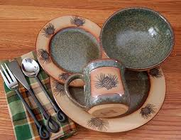 This Is A Great Rustic Cabin Style Dinnerware Set That Will Work Wonderful For Any