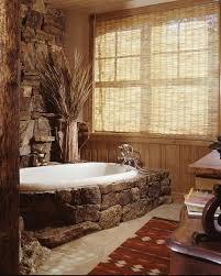 bad deko mit stein badewanne badezimmer rustikal