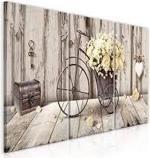 decomonkey bilder blumen vintage 120x60 cm 3 teilig leinwandbilder bild auf leinwand vlies wandbild kunstdruck wanddeko wand wohnzimmer wanddekoration