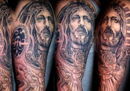 Religious Full Sleeve Christ Tattoo Designs For Men
