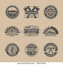 Forest Product Vintage Isolated Set Vector Woodwork Logo Wood And Sawmill Equipment