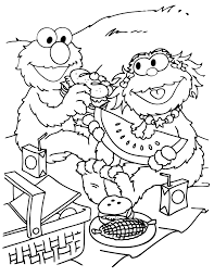 Zoe And Elmo Spring Picnic Coloring Page