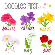 Flower of the Month January June Digital Clip Art for Scrapbooking Card Making Cupcake Toppers Paper Crafts