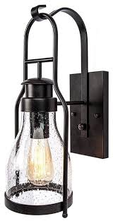 Rustic Wall Sconce Lantern With Pioneer Bubble Glass Rubbed Bronze Beach Style