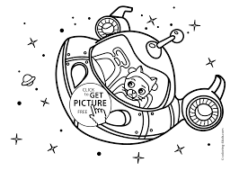 Space Craft Rocket Coloring Pages For Kids With Cat Printable Free