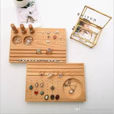 Simple Seven Muji Style Jewelry Ring Display High Quality Earring Studs Tray Natural Wooden Pendant Trays