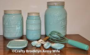 Beautiful Mason Jar Kitchen Decor Set Blue Ceramic Canister With Spoons