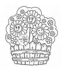 Flower Cute Garden Flowers Coloring Page For Kids