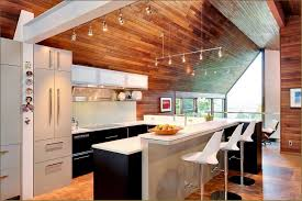 interior mid century modern kitchen design with wood ceiling and