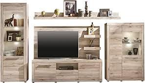 trendteam wohnzimmer anbauwand wohnwand wohnzimmerschrank passat 367 x 201 x 47 cm in eiche san remo hell dekor mit viel stauraum und platz für