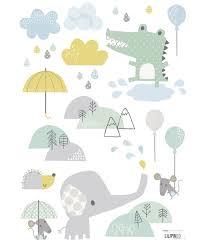 stikers chambre bebe sticker chambre bébé nuages et pluie